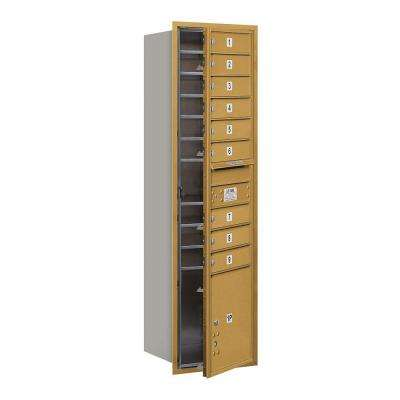 56-3/4 in. Max Height Unit Gold Private Front Loading 4C Horizontal Mailbox with 9 MB1 Doors/1 PL