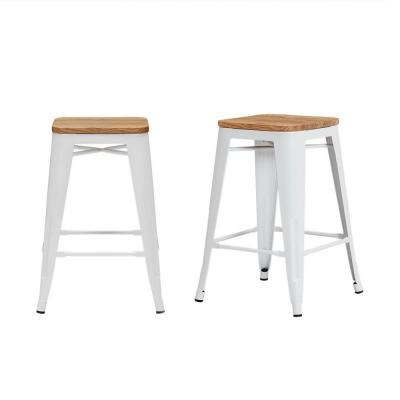 Finwick White Metal Backless Counter Stool with Wood Seat (Set of 2) (16.54 in. W x 23.62 in. H)