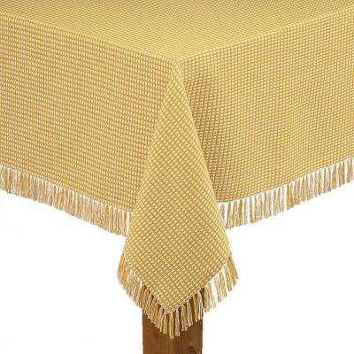 Homespun Fringed 70 in. Round Gold 100% Cotton Tablecloth