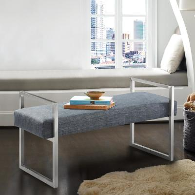 Grant Slate Grey Linen and Brushed Stainless Steel Contemporary Bench