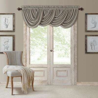 Blackout All Seasons 52 in. W x 36 in. L, Single Window Valance Blackout Rod Pocket Solid Valance, Silver