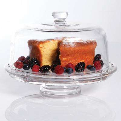 Great Foundations 2-Piece Multi-Functional Glass Cake Stand with Dome