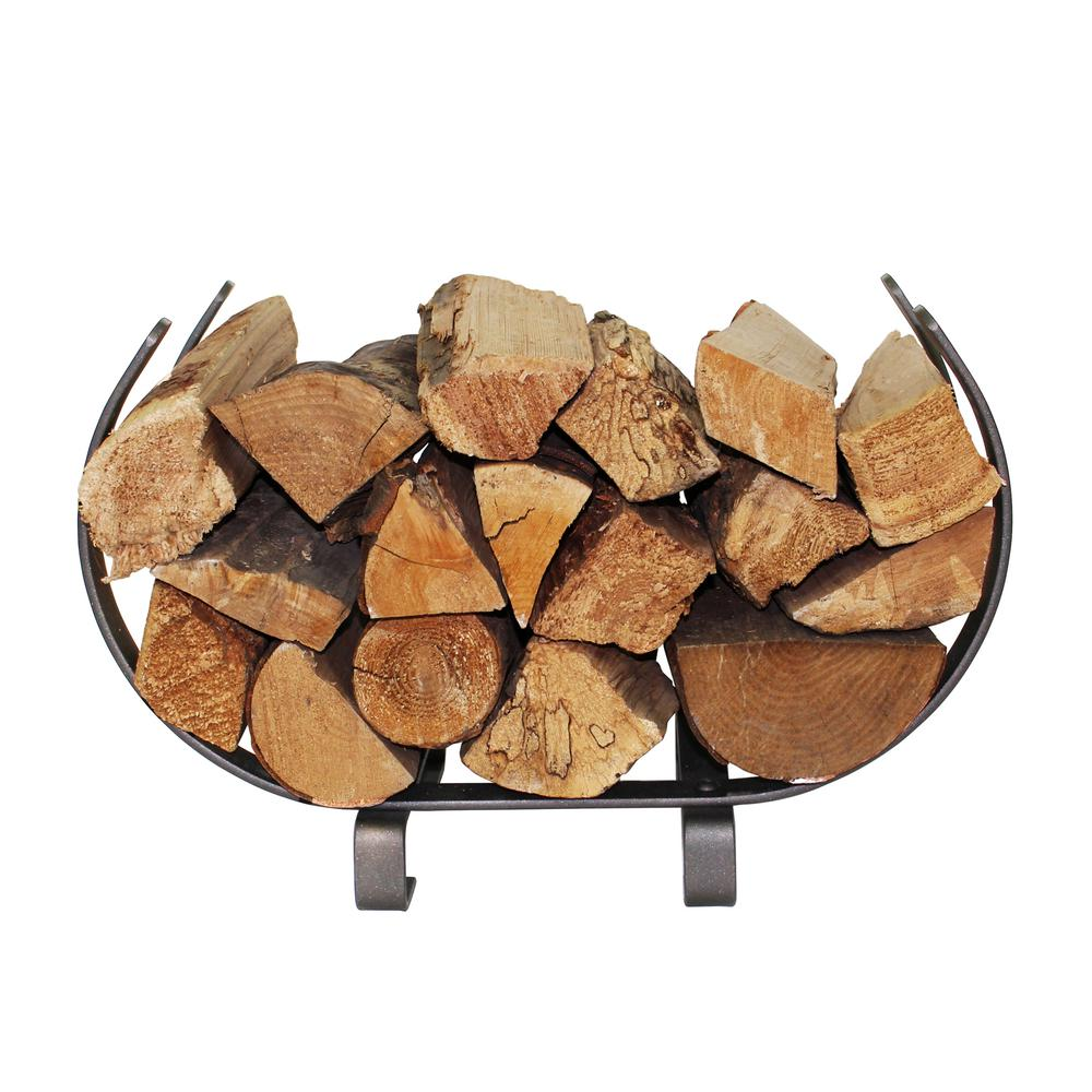 Handcrafted Small U Shaped Firewood Rack Hammered Steel