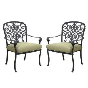 Edington Cast Back Pair of Patio Dining Chairs with Celery Cushions