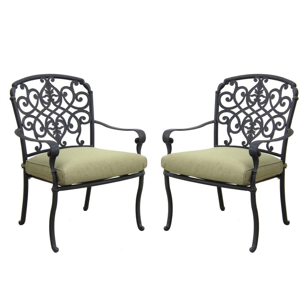 Edington Cast Back Pair of Patio Dining Chairs with Celery Cushions
