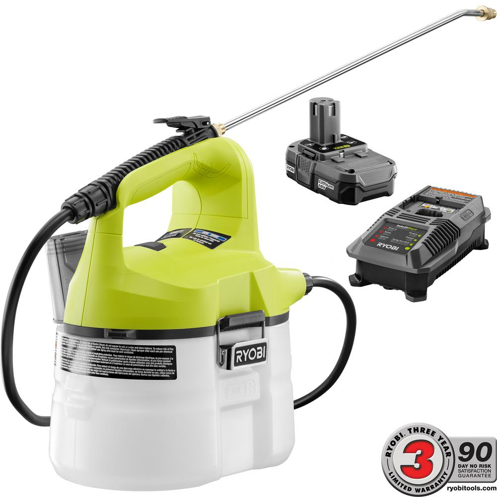 Ryobi One 18 Volt Lithium Ion Cordless Chemical Sprayer 1 3 Ah Battery And