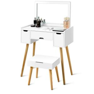 Costway White Vanity Set W 3 Drawers Large Mirror Makeup