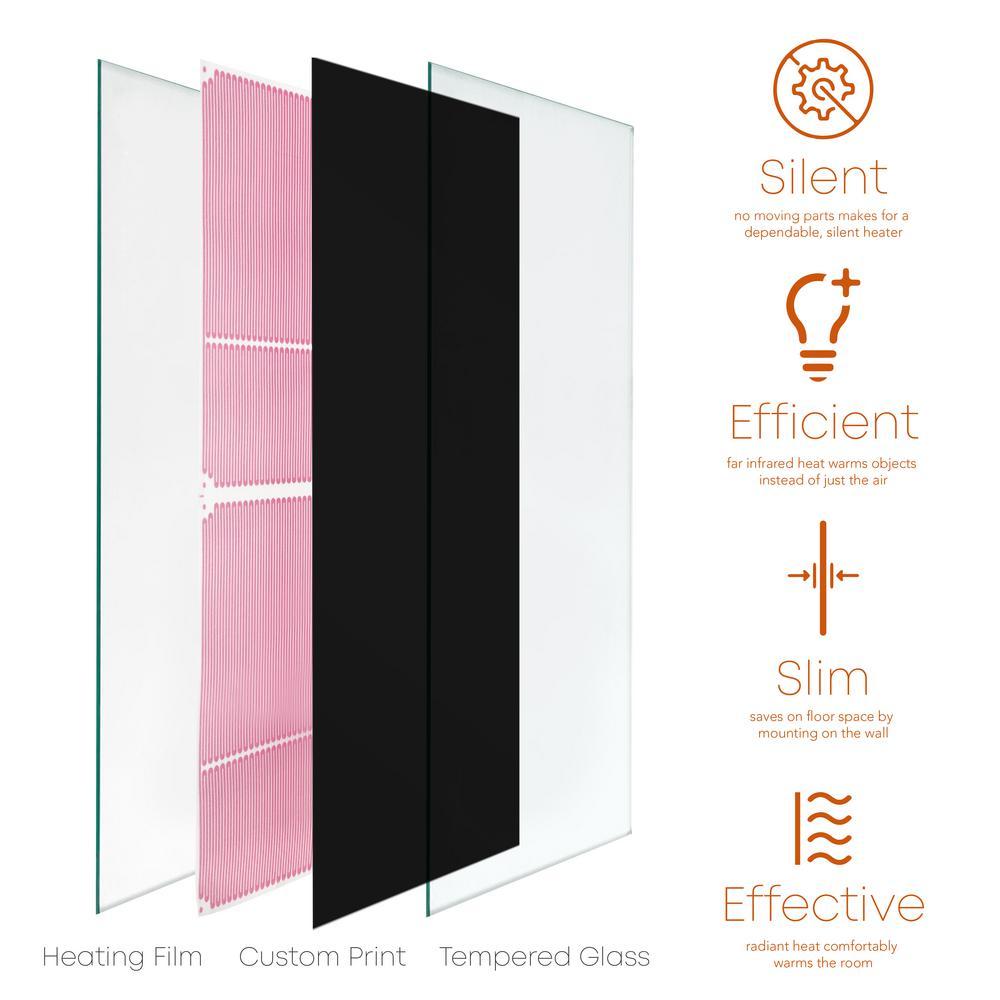 24 in. x 48 in. 750-Watt Black Decorative Glass Heater Wall Panel