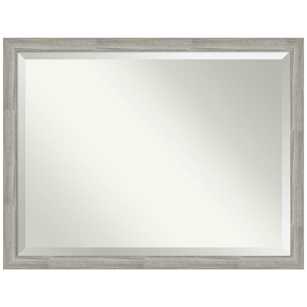Medium Rectangle Distressed Grey Beveled Glass Modern Mirror (33.5 in. H x 43.5 in. W)