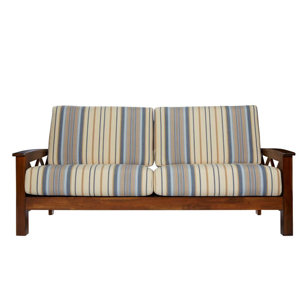 handy living virginia x design sofa with exposed wood frame in blue stripe - Wood Frame Loveseat