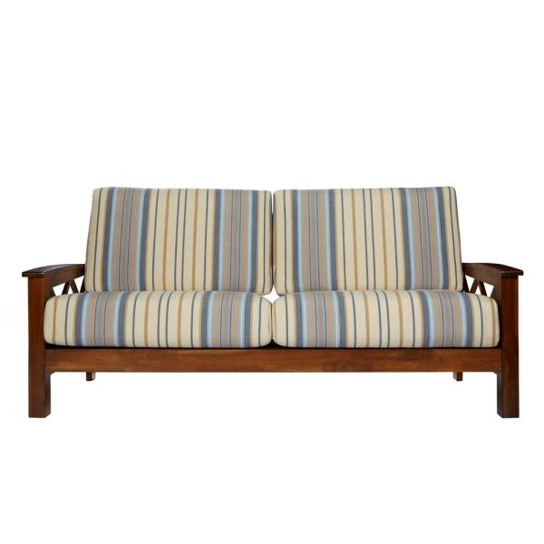 Handy Living Virginia X Design Sofa with Exposed Wood Frame in