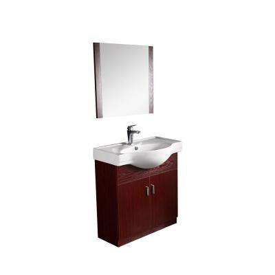 32 in. W x 12 in. D x 39 in. H Vanity in Mahogany with Porcelain Basin Vanity Top in Mahogany