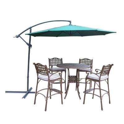 Elite Cast Aluminum 6-Piece Round Patio Bar Height Dining Set with Oatmeal Cushions and Umbrella