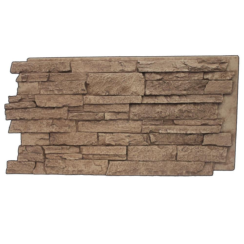 Cinnamon 24-3/4 in. x 48-3/4 in. x 1-1/4 in. Faux Windsor Stone Panel