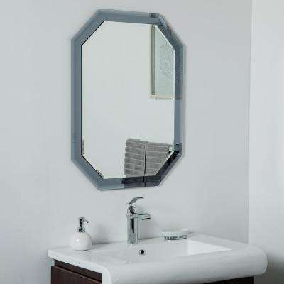 32 in. x 24 in. Octagon Grey Single Frameless Bathroom Wall and Vanity Mirror with Beveled Edge