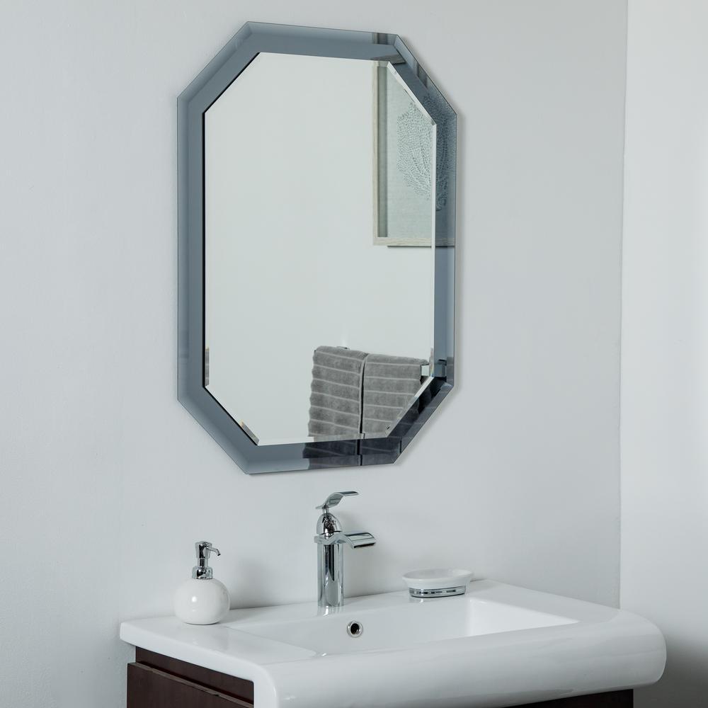 24 in. W x 32 in. H Frameless Octagon Beveled Edge Bathroom Vanity Mirror in Grey
