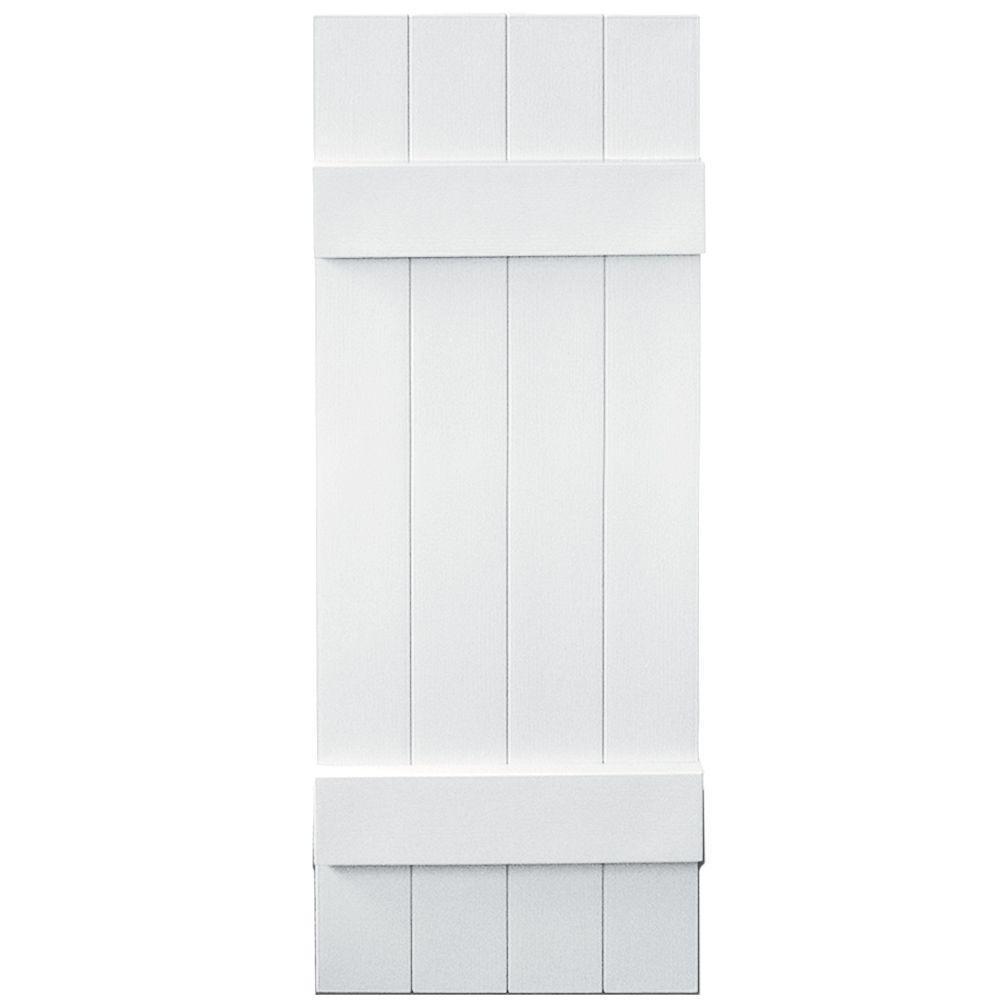 Builders Edge 14 in. x 39 in. Board-N-Batten Shutters Pair, 4 Boards Joined #001 White