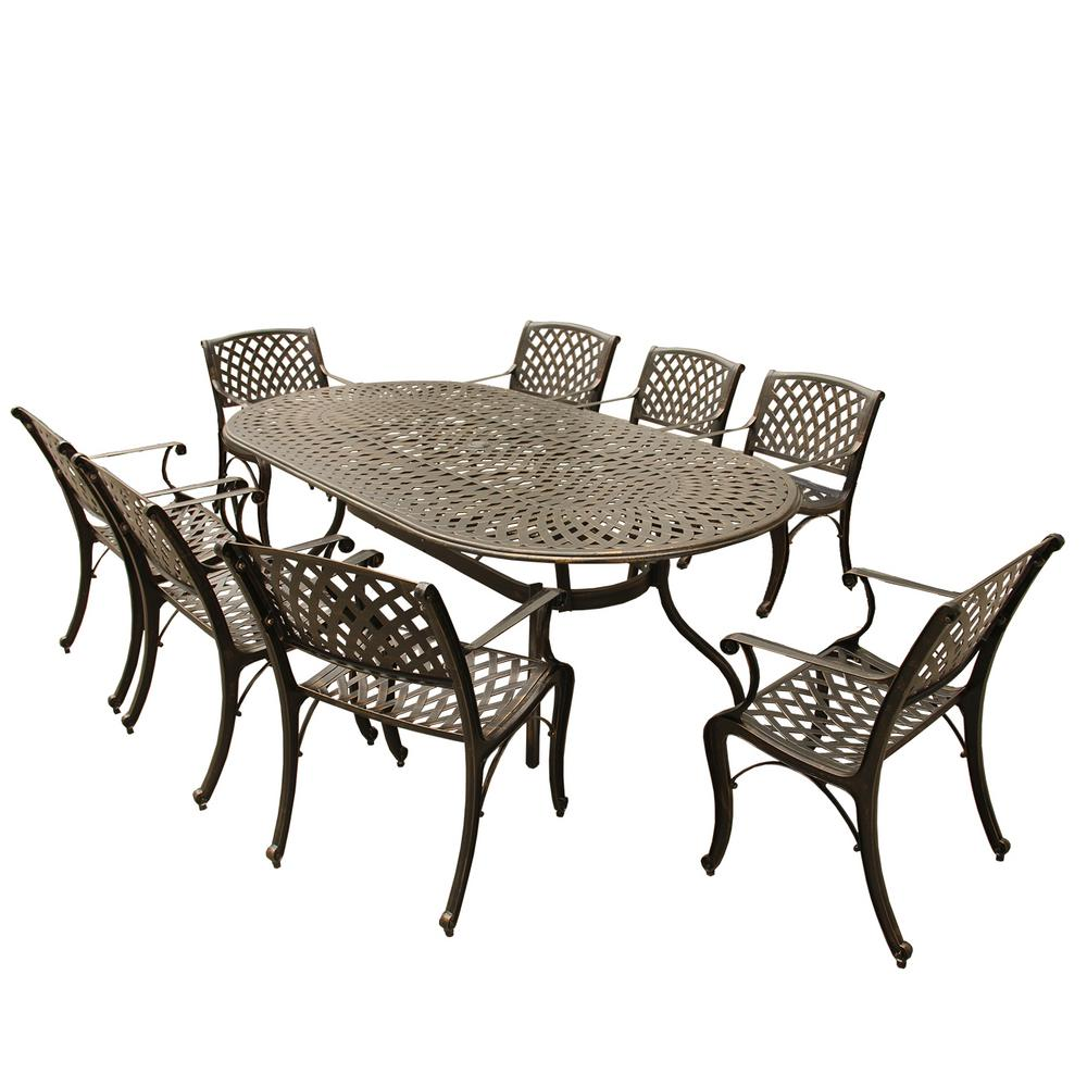 Incredible Contemporary Modern Mesh Lattice 9 Piece Bronze Aluminum Oval Outdoor Dining Set With 8 Arm Chairs Bralicious Painted Fabric Chair Ideas Braliciousco