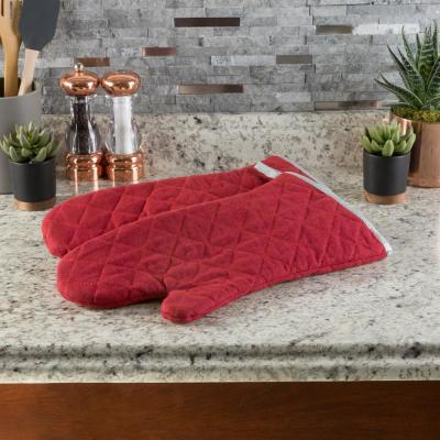 Quilted Cotton Burgundy Heat/Flame Resistant Oversized Oven Mitts (2-Pack)