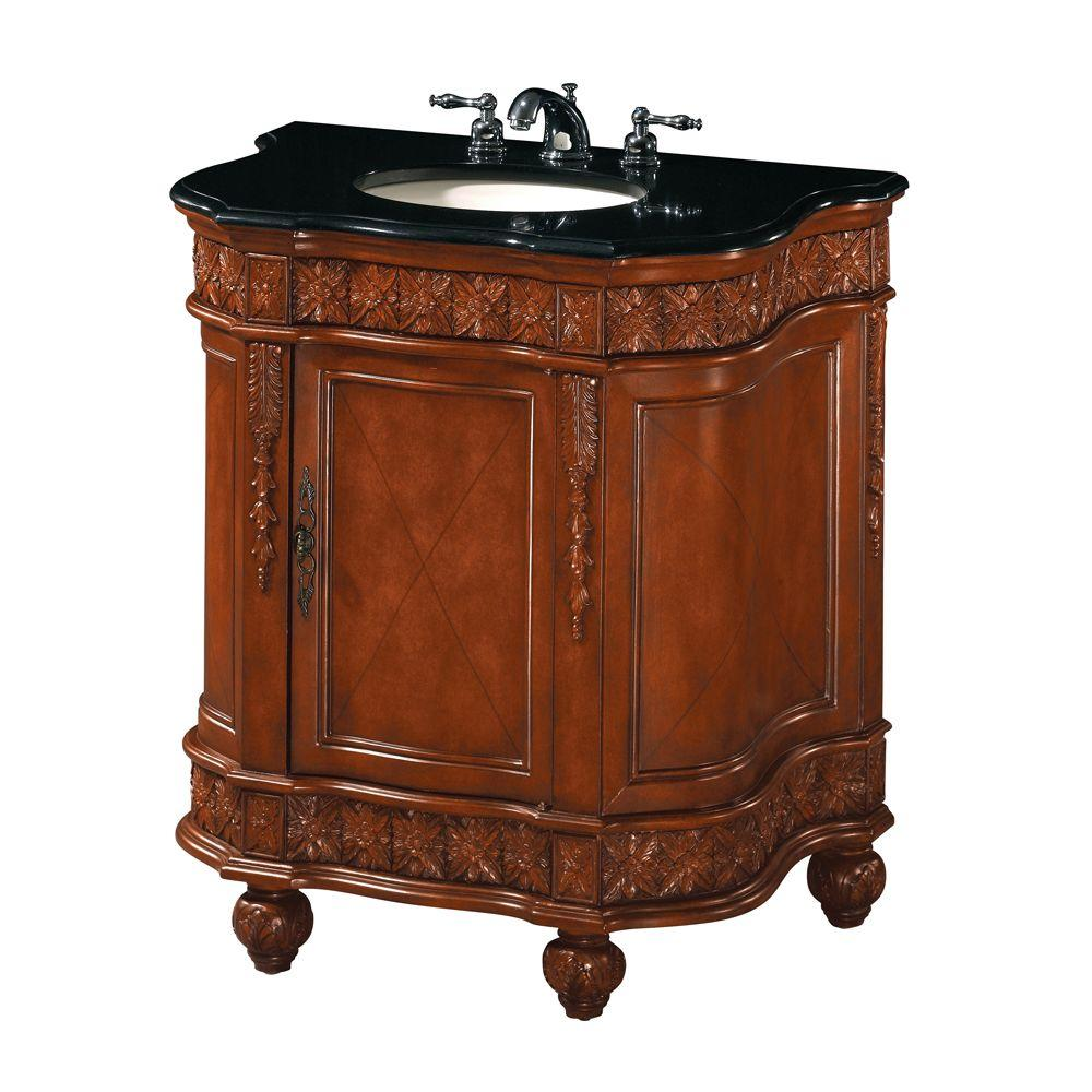 Home Decorators Collection Classic 32 in. W Single Sink Cabinet in Antique Cherry/Black Granite