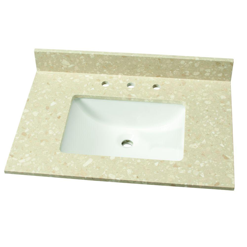 31 in. W Engineered Marble Single Vanity Top in Piatra Beige