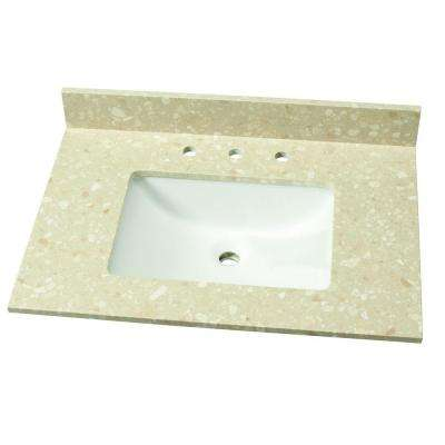 31 in. W Engineered Marble Single Vanity Top in Piatra Beige with White Basin