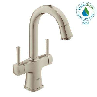 Grandera Deck-Mount 4 in. Centerset 2-Handle High Arc Bathroom Faucet in Brushed Nickel Infinity Finish