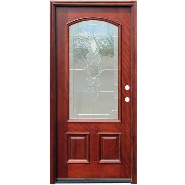 36 in. x 80 in. Traditional 3/4 Arch Lite Stained Mahogany Wood Prehung Front Door with 6 in. Wall Series
