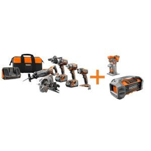 Ridgid GEN5X 18-Volt 5 Piece Combo Kit with BONUS 18-Volt Brushless Trim Router and Dual Powered Bluetooth... by RIDGID