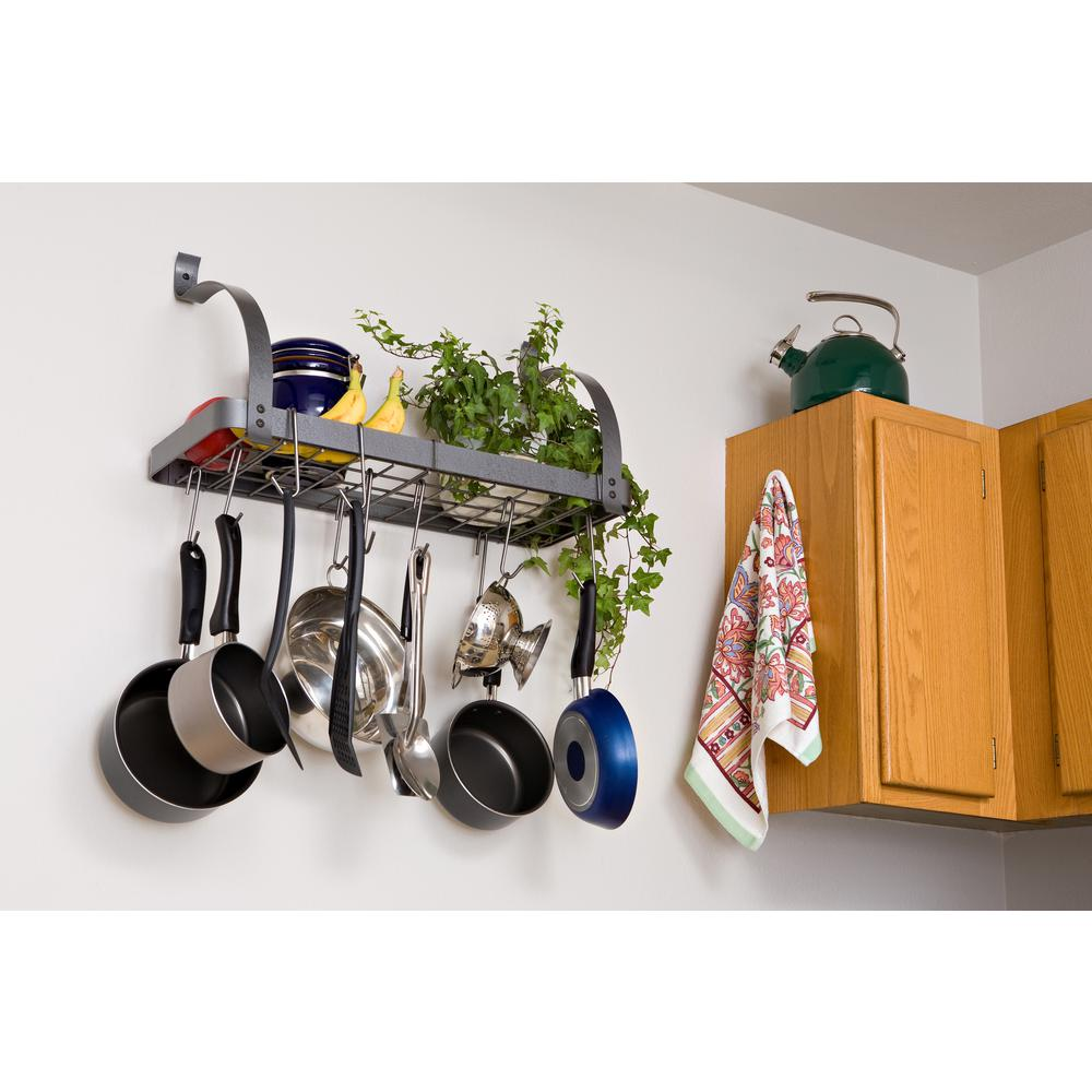 Rack It Up Bookshelf Wall Utensil Bar With 8 Hooks Steel Gray Hammertone
