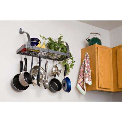 Bookshelf Wall Rack Utensil Bar with 8 Hooks Steel Gray Hammertone