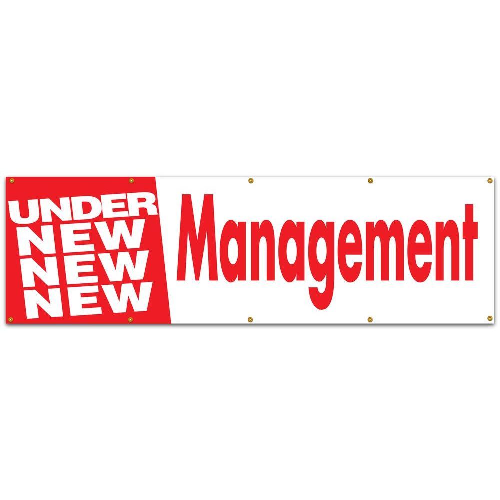 10 ft. x 3 ft. Red on White Vinyl Under New Management Banner