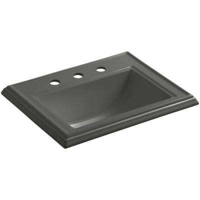 Memoirs Drop-In Vitreous China Bathroom Sink in Thunder Grey with Overflow Drain