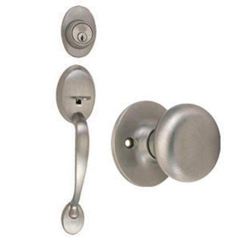 Design House Coventry Satin Nickel Handleset with Single Cylinder Deadbolt, Cambridge Knob Interior and Universal 6-Way Latch