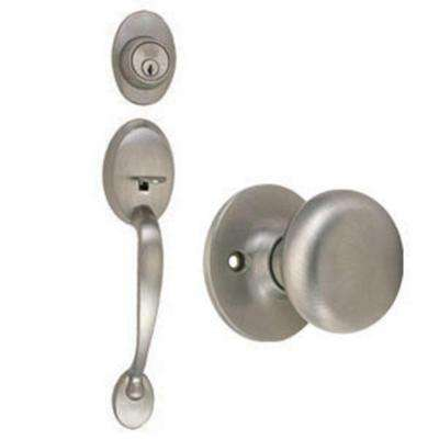 Coventry Satin Nickel Handleset with Single Cylinder Deadbolt, Cambridge Knob Interior and Universal 6-Way Latch