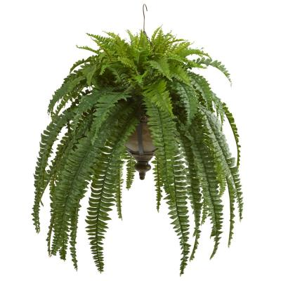 39 in. Boston Fern Artificial Plant in Metal Hanging Bowl