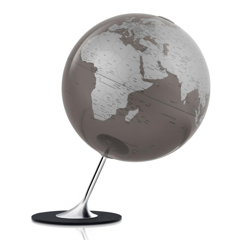 Waypoint Geographic Anglo 10 in. Decorative Desktop Globe in Slate (Grey) The Anglo is a 10 globe with a minimalistic map design, giving way to feature its silver color landmass and slate ocean coloring with metal chromed steel inclination mount and no slip platform. The angled mounting and base are solid and weighted to keep the globe from tipping over. This globe is an excellent addition to a bookshelf or desk in which a modern design is desired.You will find single content coloring with up-to-date countries labeled and delineated by line. This globe makes a great reference tool as well as a decorative accent.Add a touch of color to your room with this decorative globe.