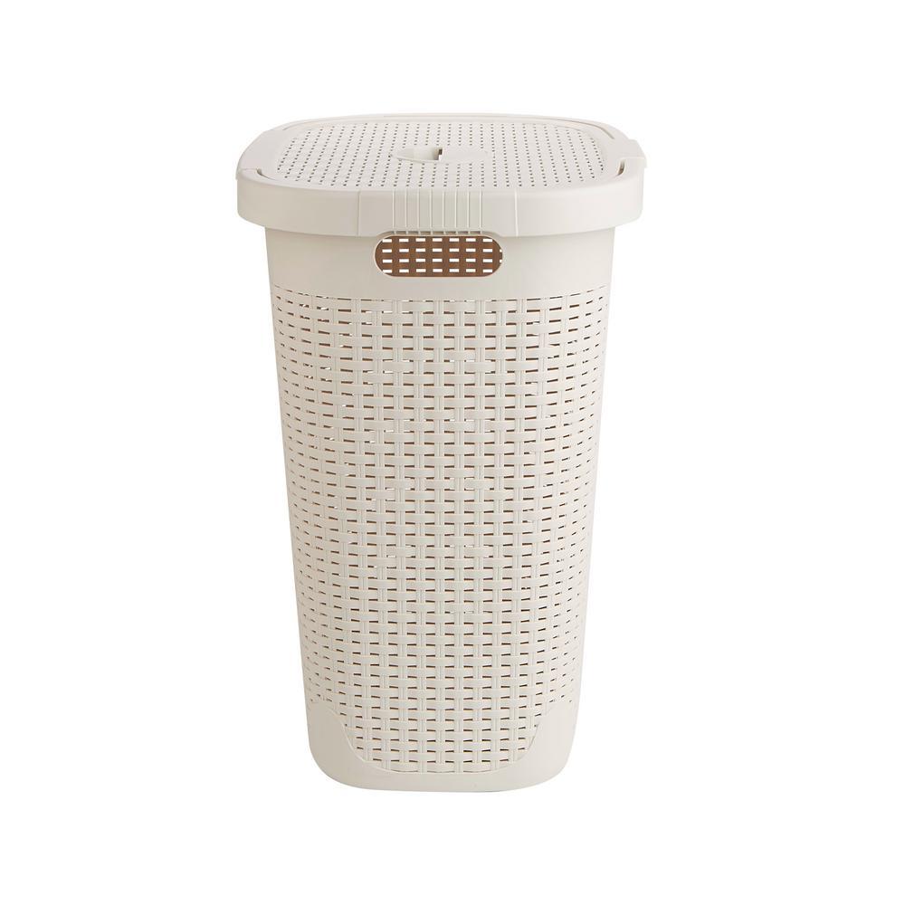 50 l Ivory Plastic Laundry Basket Hamper with Cutout Handles