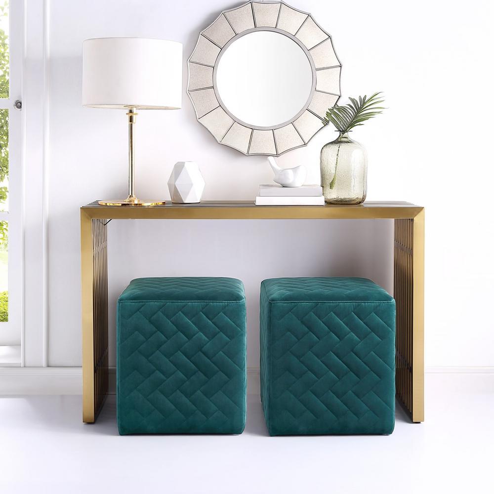 Duke Hunter Green Velvet Brick Quilted Cube Ottoman