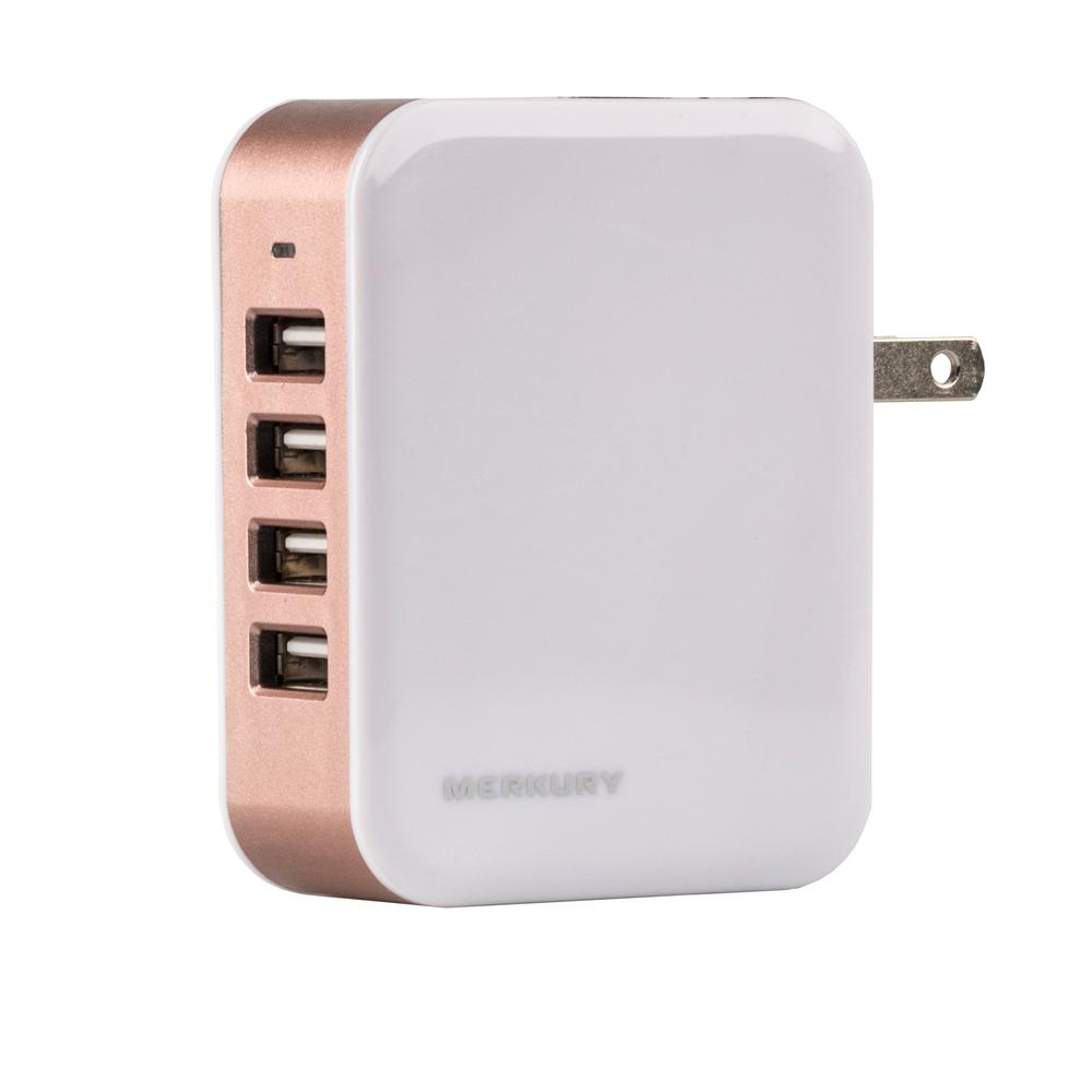 Merkury Innovations PLUG4POWER 4.8 Amp 4-Port USB Wall Charger, Rose Gold
