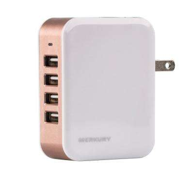 PLUG4POWER 4.8 Amp 4-Port USB Wall Charger, Rose Gold