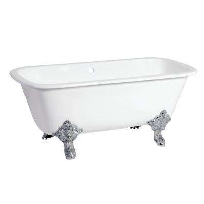Modern 67 in. Cast Iron Oil Rubbed Bronze Clawfoot Double Ended Bathtub in White