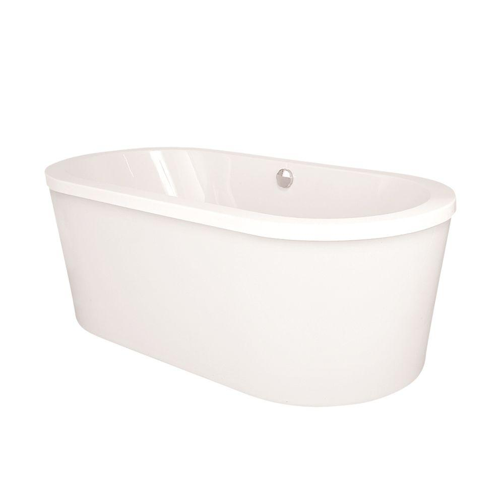 Raleigh 6 ft. Center Drain Freestanding Air Bath Tub in White