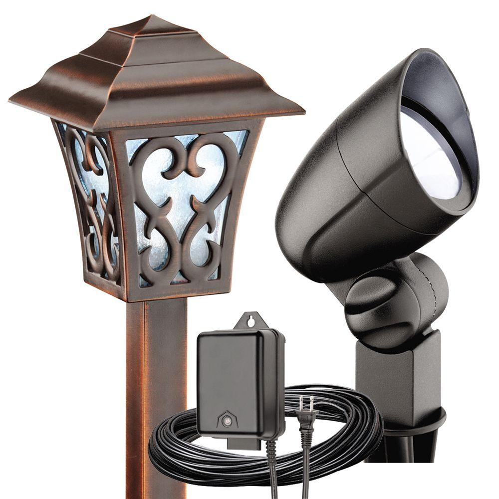 Malibu Low Voltage LED Tarnished Copper and Black Coach-Style 6-Piece Kit -DISCONTINUED