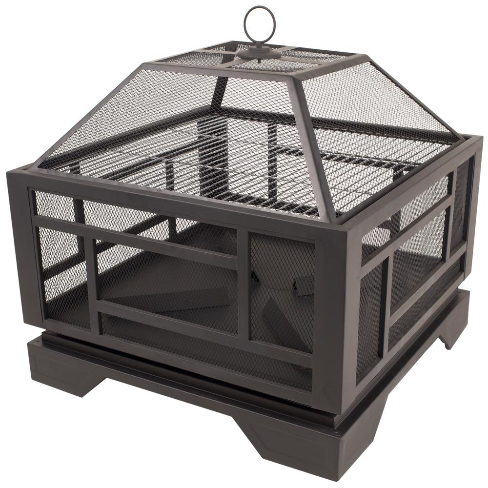 Pleasant Hearth Solus 26 in. Square Steel Fire Pit in Rubbed Bronze with Cover