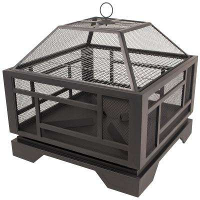 Solus 26 in. x 24 in. Square Steel Wood Fire Pit in Rubbed Bronze with Cover