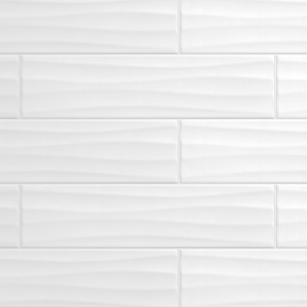 X 16 In Ceramic Wavy Wall Tile