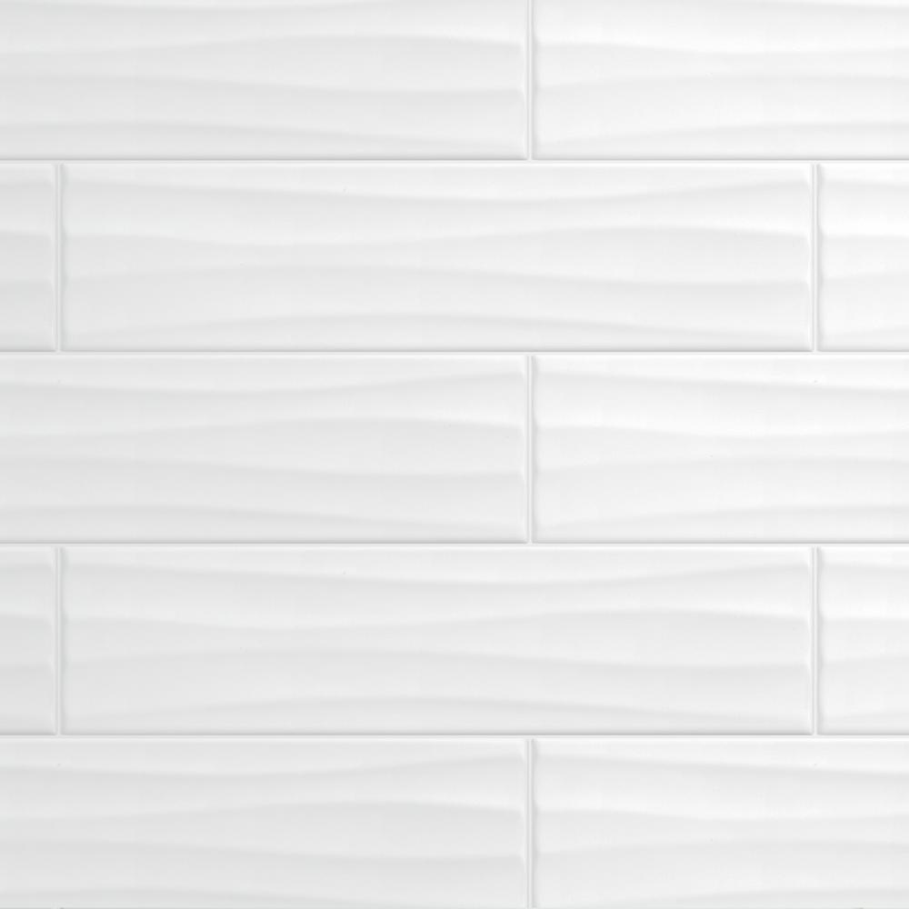 Restore Bright White 4 in. x 16 in. Ceramic Wavy Wall Tile (13.20 sq. ft. / case)