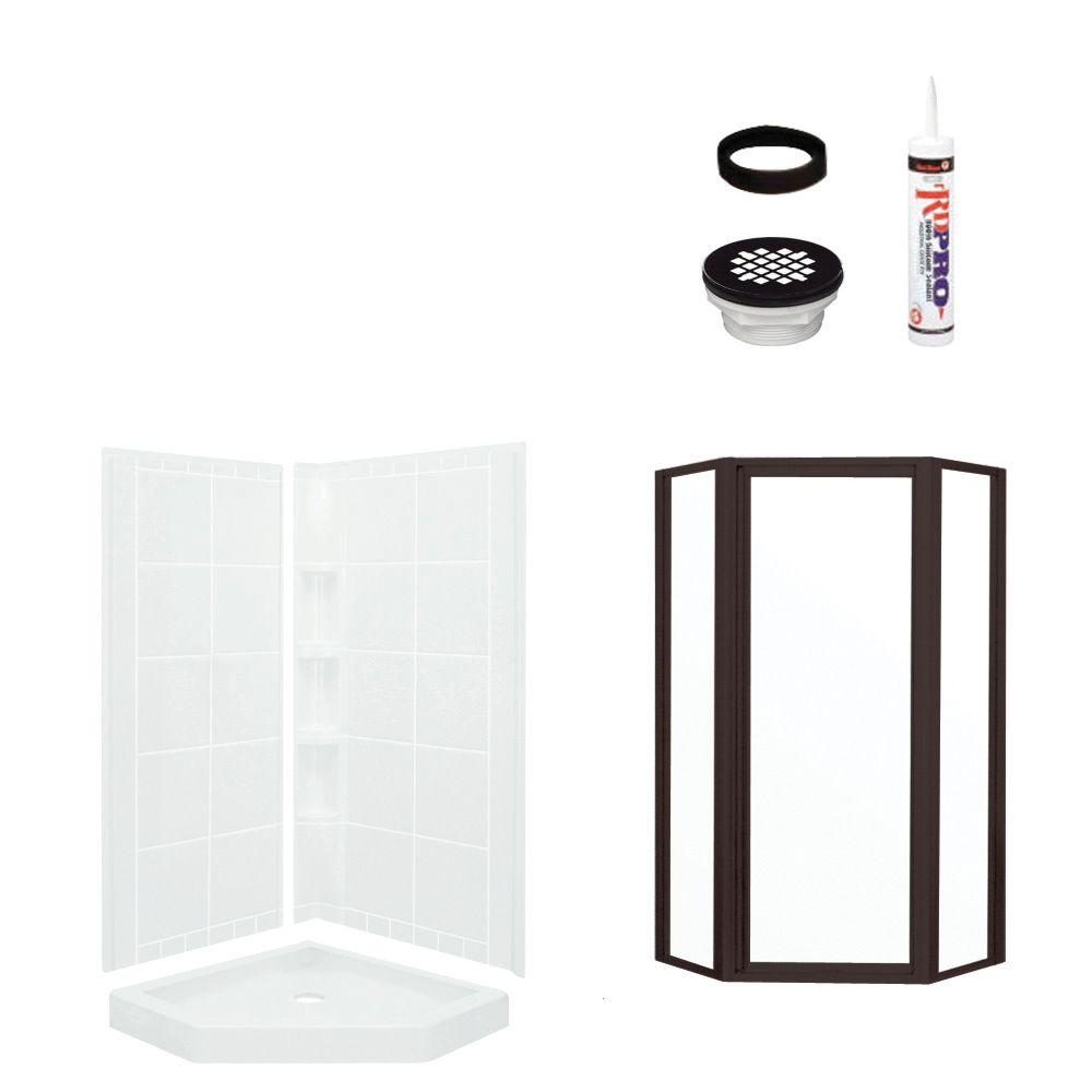 STERLING Intrigue Neo Angle 39 in. x 39 in. x 79-1/8 in. Shower Kit with Shower Door in White/Oil Rubbed Bronze-DISCONTINUED