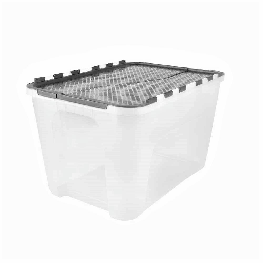 12 Gal. Flip-Top Storage Tote With Black Lid (4-Pack)